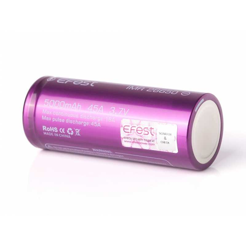Efest Purple IMR26650 mit 5000mAh, 3,7V, 32A Lithium Ionen Akku (High Drain)