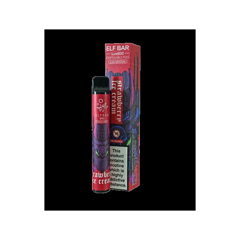 Elf Bar Lux600 Disposable Pod Strawberry Ice Cream 2% Salt Nic (Einweg E-Zigarette)